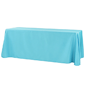 "90"" x 132"" Rectangular 200 GSM Polyester Tablecloth - Aqua Blue"