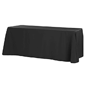 "90"" x 132"" Rectangular Oblong 200 GSM Polyester Tablecloth - Black"