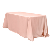 "90"" x 132"" Rectangular 200 GSM Polyester Tablecloth - Blush/Rose Gold"