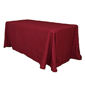 "90"" x 132"" Rectangular 200 GSM Polyester Tablecloth - Burgundy"