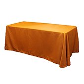 "90"" x 132"" Rectangular 200 GSM Polyester Tablecloth - Burnt Orange"
