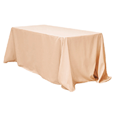 "90"" x 132"" Rectangular 200 GSM Polyester Tablecloth - Champagne"