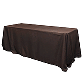 "90"" x 132"" Rectangular 200 GSM Polyester Tablecloth - Chocolate Brown"