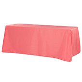 "90"" x 132"" Rectangular Oblong 200 GSM Polyester Tablecloth - Coral"