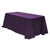 "90"" x 132"" Rectangular 200 GSM Polyester Tablecloth - Eggplant/Plum"