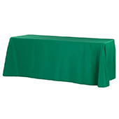 "90"" x 132"" Rectangular Oblong 200 GSM Polyester Tablecloth - Emerald Green"