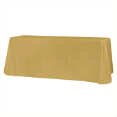 "90"" x 132"" Rectangular Oblong 200 GSM Polyester Tablecloth - Gold"