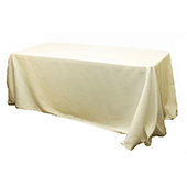 "90"" x 132"" Rectangular Oblong 200 GSM Polyester Tablecloth - Ivory"