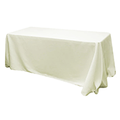 "90"" x 132"" Rectangular Oblong 200 GSM Polyester Tablecloth - Light Ivory/Off White"