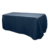 "90"" x 132"" Rectangular 200 GSM Polyester Tablecloth - Navy Blue"