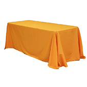 "90"" x 132"" Rectangular Oblong 200 GSM Polyester Tablecloth - Orange"