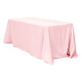 "90"" x 132"" Rectangular 200 GSM Polyester Tablecloth - Pastel Pink"