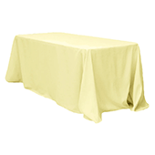 "90"" x 132"" Rectangular Oblong 200 GSM Polyester Tablecloth - Pastel Yellow"
