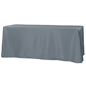 "90"" x 132"" Rectangular 200 GSM Polyester Tablecloth - Pewter"