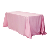 "90"" x 132"" Rectangular Oblong 200 GSM Polyester Tablecloth - Pink"