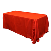 "90"" x 132"" Rectangular Oblong 200 GSM Polyester Tablecloth - Red"