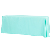 "90"" x 132"" Rectangular Oblong 200 GSM Polyester Tablecloth - Turquoise"