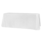 "90"" x 132"" Rectangular Oblong 200 GSM Polyester Tablecloth - White"