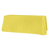 "90"" x 132"" Rectangular Oblong 200 GSM Polyester Tablecloth - Yellow"