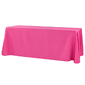 "90"" x 156"" Rectangular 125-130 GSM Polyester Tablecloth - Fuchsia"