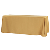 "90"" x 156"" Rectangular 125-130 GSM Polyester Tablecloth - Gold"