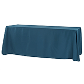 "90"" x 156"" Rectangular 125-130 GSM Polyester Tablecloth - Navy Blue"