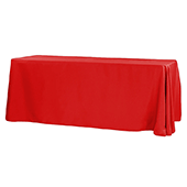 "90"" x 156"" Rectangular 125-130 GSM Polyester Tablecloth - Red"