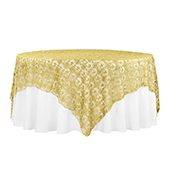 "Dazzle Sequin Lace Square Table Topper/Overlay - 90""x90"" - Gold"