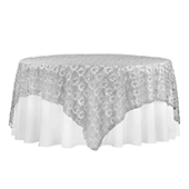 "Dazzle Sequin Lace Square Table Topper/Overlay - 90""x90"" - Silver"