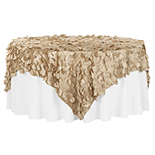 "Large Petal Gatsby Circle - Square Table Overlay / Tablecloth - 90"" x 90"" - Champagne"