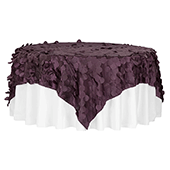 "Large Petal Gatsby Circle - Square Table Overlay / Tablecloth - 90"" x 90"" - Eggplant/Plum"