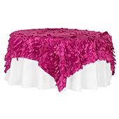 "Large Petal Gatsby Circle - Square Table Overlay / Tablecloth - 90"" x 90"" - Fuchsia"