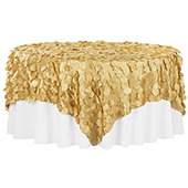 "Large Petal Gatsby Circle - Square Table Overlay / Tablecloth - 90"" x 90"" - Gold"