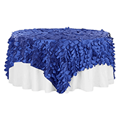 "Large Petal Gatsby Circle - Square Table Overlay / Tablecloth - 90"" x 90"" - Royal Blue"