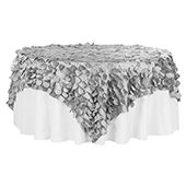 "Large Petal Gatsby Circle - Square Table Overlay / Tablecloth - 90"" x 90"" - Silver"