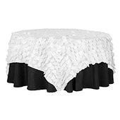 """Large Petal Gatsby Circle - Square Table Overlay / Tablecloth - 90"""" x 90"""" - White"""