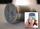 9 Watt LED RGB Color-Change Projection Bulb w/ Remote Control