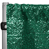 "Emerald Green Sequin Backdrop Curtain w/ 4"" Rod Pocket by Eastern Mills - 10ft Long x 9.5ft Wide"