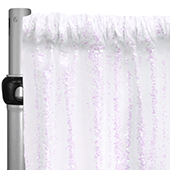"Iridescent White Sequin Backdrop Curtain w/ 4"" Rod Pocket by Eastern Mills - 8ft Long x 9.5ft Wide"