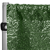 "Willow Green Sequin Backdrop Curtain w/ 4"" Rod Pocket by Eastern Mills - 14ft Long x 4.5ft Wide"