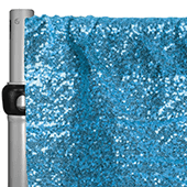 "Aqua Blue Sequin Backdrop Curtain w/ 4"" Rod Pocket by Eastern Mills - 12ft Long x 4.5ft Wide"