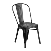 Distressed Indoor Stacking Chair - Black