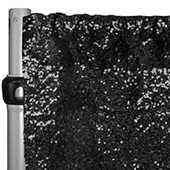 "Black Sequin Backdrop Curtain w/ 4"" Rod Pocket by Eastern Mills - 12ft Long x 4.5ft Wide"