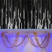 Black - Metallic Fringe Ceiling Curtain - Choose your Length