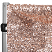 "Blush/Rose Gold Sequin Backdrop Curtain w/ 4"" Rod Pocket by Eastern Mills - 12ft Long x 4.5ft Wide"
