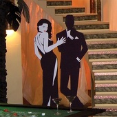 Bond Girl with Henchman Mural Cut Out Silhouette