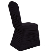 200 GSM Grade A Quality Ruched Chair Cover By Eastern Mills - Spandex/Lycra - Black