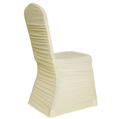 50 PACK! 200 GSM Grade A Quality Ruched Chair Cover By Eastern Mills - Spandex/Lycra - Ivory