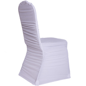 200 GSM Grade A Quality Ruched Chair Cover By Eastern Mills - Spandex/Lycra - White