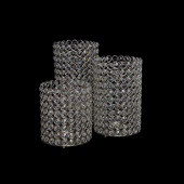 DecoStar™ Crystal Candle Cylinder / Pillar - 3 Piece Set! (Small, Medium, Large)